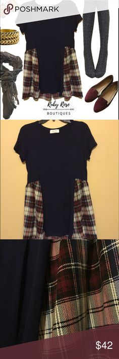 Navy and Plaid Top Plaid is the new black this season. This navy blue and plaid top is unique and trendy. Long enough to pair it with leggings or tights. Too fits true to size, much like a tshirt. The bottom part is flowy and loose. Ruby Rose Boutiques we comes offers and bundles, but we are unable to trade at this time. ~{We are ALL beautiful.}~ Tops