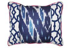 Raji 14x20 Cotton-Blend Pillow, Navy