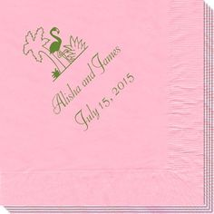 Flamingo and Palm Tree Napkins Comes in a nice blue and white custom fonts available