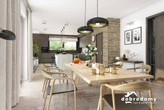 Nevada - Dobre Domy Flak & Abramowicz Nevada, Dining Table, Kitchen, House, Furniture, Home Decor, Prefab Homes, Interiors, Cooking