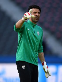 Gianluigi Buffon of Juventus makes his point during a Juventus training session on the eve of the UEFA Champions League Final match against FC Barcelona at Olympiastadion on June 5, 2015 in Berlin, Germany.