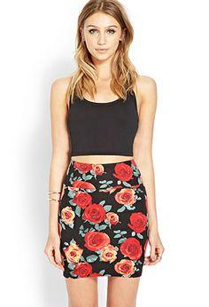 Rambling Rose Bodycon Skirt | FOREVER 21 - 2000089323