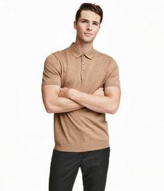 Silk-blend Polo Shirt | Dark beige melange | Men | H&M US