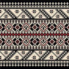 Folk Embroidery Patterns Vector illustration of ukrainian seamless pattern ornament - Crochet Borders, Cross Stitch Borders, Cross Stitch Designs, Cross Stitching, Cross Stitch Patterns, Filet Crochet, Folk Embroidery, Cross Stitch Embroidery, Embroidery Patterns