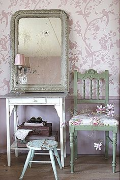 Laura Ashley wallpaper (I have the same wallpaper in my office in Eau de Nil pale blue)