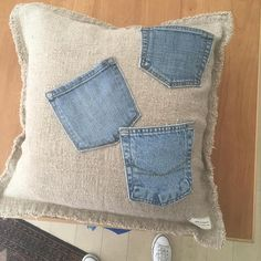 Repurposed Denim Pocket Pillow