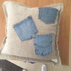 Repurposed Denim Pocket Pillow