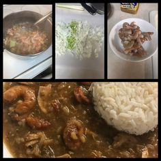 Gumbo - peel fresh raw shrimp & make a stock from the shrimp peels & veggies. Sauté onion, garlic,peppers& celery. Add browned sausage, chicken-simmer &add roux. Add seasoning (tabasco,red pepper, s & p,old bay, parsley,garlic salt, file' powder, etc). Add meat&simmer low for 3hrs. Add 1 bg. Okra&tomatoes& simmer 1 hour. I mix in a little rice & serve with rice on the side. Okra And Tomatoes, Saute Onions, Garlic Salt, Gumbo, Red Peppers, Stir Fry, Parsley, Celery, Shrimp