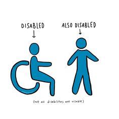 not all disabilities are visible ! millions of people are living their lives with disabilities that cannot always be seen from the… Disability Quotes, Disability Awareness, Chronic Pain, Fibromyalgia, Chronic Illness, Mild Cerebral Palsy, Mental Health Posters, Adhd Facts, Myasthenia Gravis