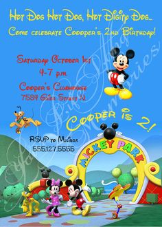 Mickey Mouse Clubhouse Birthday Invitation by YLLM on Etsy, $15.00