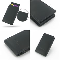 PDair Leather Case for Nokia Lumia 1020 - Vertical Pouch Type (Black/Purple Stitch)