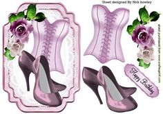PINK BASQUE AND SHOES WITH ROSES ON LACE on Craftsuprint designed by Nick Bowley - PINK BASQUE AND SHOES WITH ROSES ON LACE, Makes a pretty card, lots of other ladies designs to see - Now available for download!