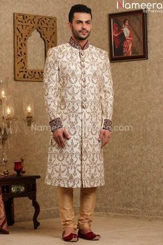 Buy Men's Sherwani-Pakistani Sherwani off White for Groom Online-Men,s Wear With Zari, Embroidery, Print Work In USA, UK, Canada, Australia Visit Now : www.NameerabyFarooq.com or Call / Whatsapp : +1 732-910-5427 Blue Sherwani, Sherwani Groom, Mens Sherwani, Wedding Dresses Men Indian, Wedding Dress Men, Work In Usa, Silk Pajamas, Off White Color