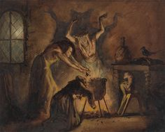 Scene of Three Witches from Shakespeare's Macbeth, George Cattermole, 1800 - 1868 Arte Horror, Horror Art, Horror Comics, Wicca Kunst, Dark Fantasy, Fantasy Art, Witch Painting, Tarot, Weird Sisters