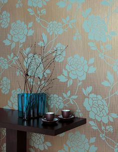 Modern wallpaper: Blue & brown floral textured metallic print by xJavierx, via Flickr