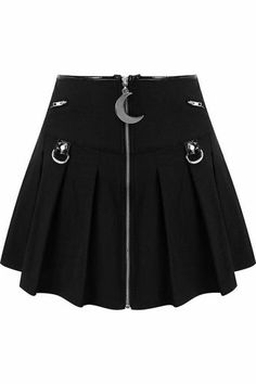 Super cute pleated mini skirt from Killstar! The gorgeous Kristen skirt features a zip front with a large crescent moon adornment Gothic Outfits, Edgy Outfits, Skirt Outfits, Dress Skirt, Teen Fashion Outfits, Look Fashion, Skirt Fashion, Womens Fashion, Fashion Rings