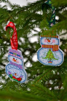 Lovely stitch: Snowman with tree.