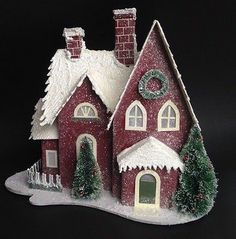 SNOWY GLITTER CARDBOARD CHRISTMAS HOUSE w/ Trees MICA PUTZ STYLE White LIGHT