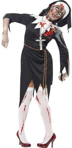 Zombie Nonnen Kostüm Halloween für Damen: Dieses Zombie Nonnen Kostüm für Damen besteht aus einem Rock, einem Gürtel und einer Kopfbedeckung (Strümpfe, Schuhe und Kreuz nicht im Lieferumfang). Das Kleid ist schwarz, mit...