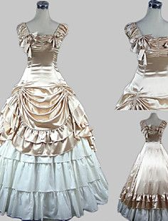Sleeveless Floor-length Beige Satin Cotton Princess Lolita D... – GBP £ 82.79