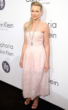 Naomi was pretty in pale pink, styling a Calvin Klein Collection dress at the designer's Women in Film event.