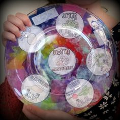 Use a seder plate template and some torn up tissue paper (kids love ripping tissue paper!) to make this usable seder plate!