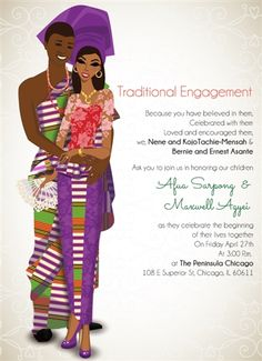 OBI ATE MESO BO - GHANAIAN TRADITIONAL WEDDING INVITATION from http://www.bibiinvitations.com