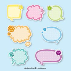 Discurso bonito das bolhas adesivos Vetor grátis Diy Resin Crafts, Diy And Crafts, Paper Crafts, Bubble Stickers, Label Stickers, Powerpoint Background Design, Printable Labels, Printable Border, Note Paper