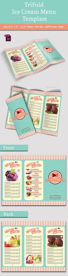 TriFold Ice Cream Menu Template #design Download: http://graphicriver.net/item/trifold-ice-cream-menu-template-vol-2/13064294?ref=ksioks