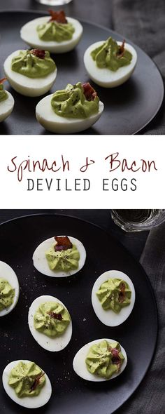Spinach and bacon deviled eggs @FoodBlogs