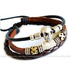 Bangle skull bracelet leather bracelet men bracelet Cuff made of leather and metal skull wrist bracelet  SH-0725. $8.00, via Etsy.