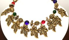 Vintage Couture Glass Beads Ornate Gold Plated Dangle Choker Necklace