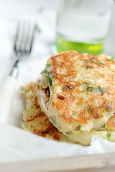 Feta, Scallion and potato cakes. Can't begin to describe how much I like these.