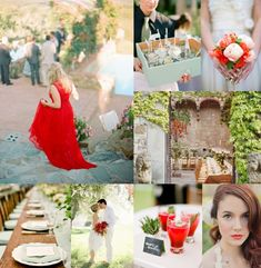 Elegant Tuscan Wedding Inspiration: poppy red with mint green - so classy