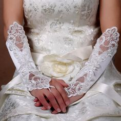 Buy White Lace Sequin Elbow Length Wedding Bridal Formal Gloves Women SKU-11201044