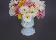 DIY - Crepe Paper Flowers (crepe paper, scissors, white floral cloth wire, white floral tape, glue, microbeads)