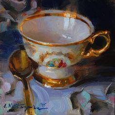 Gold on Cobalt by Elena Katsyura Oil ~ 6 x 6