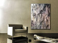 Original Gray Textured Abstract Painting Huge by newwaveartgallery