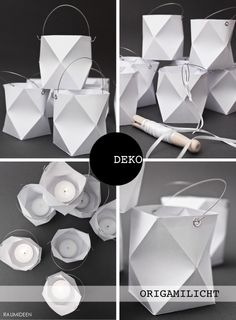 Make origami lanterns yourself - with instructions and printing .- Origami-Windlichter selber machen – mit Anleitung und Druckvorlage Lanterns for a summer party At the moment I have to give free rein to my imagination to create a certain summer mood. Origami Design, Diy Origami, Origami Simple, Origami Yoda, Origami Paper Art, Origami Tutorial, Diy Paper, Paper Crafts, Origami Folding