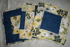 On Sale  Quilted Table Runner Blue Yellow Handmade  by Love2quilt
