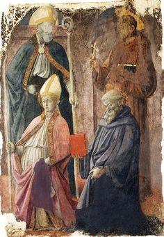 Fra Filippo Lippi. Agostino, Francesco, Benedetto e un santo vescovo. New York, Metropolitan Museum of Art