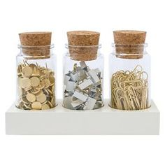 Sugar Paper® Office Supply Fastener Set in Corked Jars - Paper Clips/Pins/Binder Clips