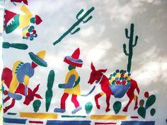 Vintage Mexican  Tablecloth  Primary by AtomicTreasureHunter