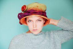 RESERVED - Festival Hat - Womans Felted Cloche Hat - Multicolor Hat - Boho Fun Hat - Purple Orange Green Sun Hat