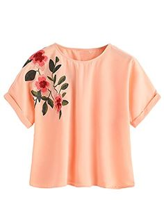 SweatyRocks Womens Causual Summer Tops Floral Embroidered Short Sleeve T Shirt Orange M * Want additional info? Click on the image-affiliate link.