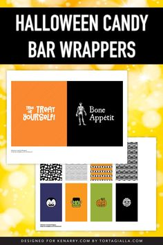 Add cute and sass to your candy stash with these Halloween candy bar wrappers. Print, trim the label and wrap for a basketful of fun treats to hand out for the kids! Templates Printable Free, Printable Designs, Free Printables, Halloween Candy Bar, Halloween Fun, Candy Bar Covers, Letterhead Template, Candy Bar Wrappers, Pattern Paper