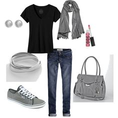 Casual- Black & Grey, created by saraelizabeth-1 on Polyvore