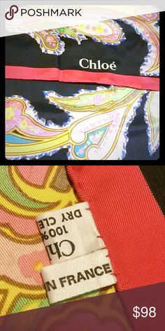 CHLOE' 100% AUTHENTIC SILK SCARF (NEW) CHLOE ' 100 % AUTHENTIC SILK LARGE  SCARF IN EXCELLENT CONDITION NEW NEVER WORN COLORS ARE RED, BLACK, YELLOW, PINK, GREEN, TEAL AND BROWN CHLOE Accessories Scarves & Wraps