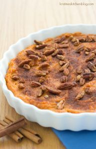 This Healthy Sweet Potato Casserole is filled with warm spices and lightly sweetened with honey   Kristine\'s Kitchen