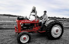 Engagement picture on an old tractor #country #wedding